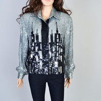 1980s City Skyline Jacket / VIntage Sequin Jacket / Graphic Art / Silver and Black / Sparkle Glam / European City
