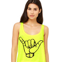 Neon Yellow Cropped Tank Top - Hang Loose Shaka Symbol Funny Summer Outfit Beach Tank