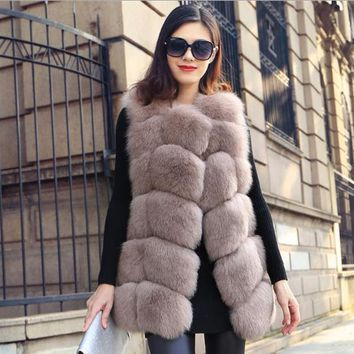 2018 Winter Women's Faux Fur Coat Artificial Fur Vest Furry Vests Femme Jackets Plus Size Warm Fake Fur Gilet Z392