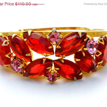 30% Off Red Pink Bracelet Rhinestone Juliana Clamper Bangle Vintage