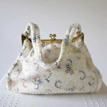 Vintage Purse, 1950s, Handbag, Beaded, Clasp, BRIDAL, Pin Up, Colorful Bag, Embroidered bag
