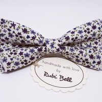White bow tie, white floral tie, gift for a man, bow tie for groom, groomsmen bowties, white tie with purple blue flowers, mens neck wear