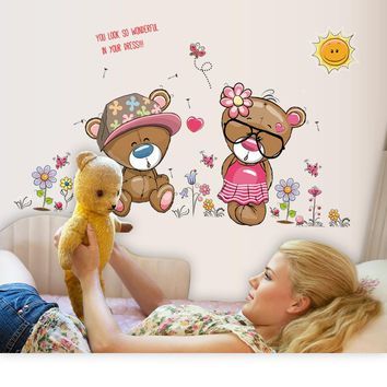 Cartoon Cute Teddy Bear Wall Sticker Home Decor Wall Decals For Kids Baby Bedroom Living Room Decoration Wallpaper