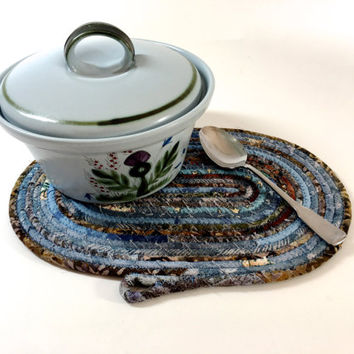Clothesline Coiled Rope Trivet - Blue and Brown Snack Mat - Handmade Fabric Placemat - Large Mug Rug - Mouse Pad - Homemade Candle Mat