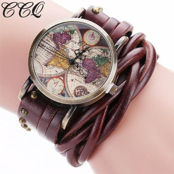 CCQ Brand Fashion Vintage Retro Rivet Braided Genuine Leather World Map Watch Casual Women Quartz Watch Relogio Feminino C89