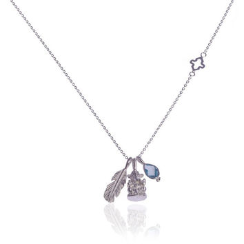 Hold my Hand Necklace • Blue Topaz • Silver