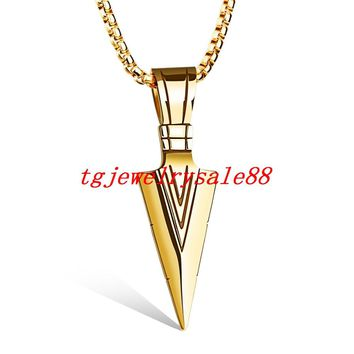 "Top Hot Sale Gold  Arrowhead Pendant Cool Men's Stainless Steel Punk Style Necklace Jewelry 24"" Box Chain Free"