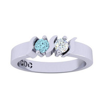 Sterling Silver Personalized Couples S Bar Ring w/ His and Hers Birthstones Custom Jewelry