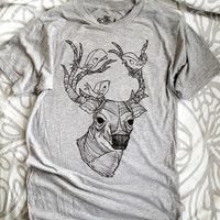 Heather Grey Deer & Birds T-Shirt