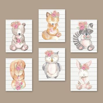 Watercolor Woodland Animal Nursery Wall Art Decor, Woodland Forest Nursery Decor, Girl Woodland Nursery Wall Art, Set of 6 Canvas or Print
