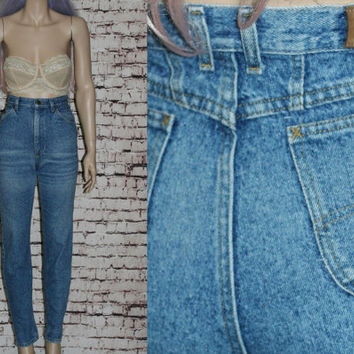 90s High Waist Mom Jeans Tapered Distressed Skinny Medium Wash Waist Grunge Hipster Pastel Goth Festival Lee Denim 8 10 29 28 Boho M L