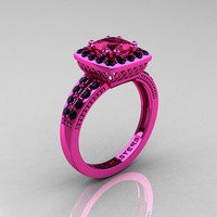 Classic 14K Pink Gold 1.23 Carat Princess Pink Sapphire Black Diamond Solitaire Engagement Ring R220P-14KPGBDPS