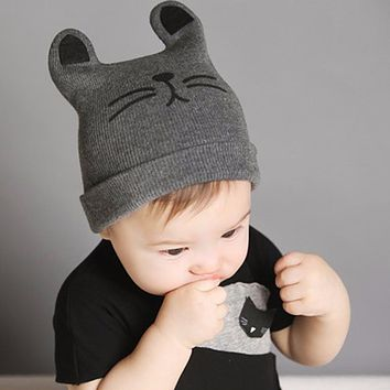 Baby Hats Newborn Cartoon Knitting Cap Toddler Kids Boys Girls Cat Ear Beanie Cap Infant Autumn Winter Warm Hat