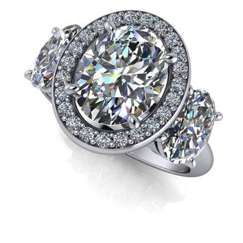Three Stone Oval Ring - Diamond Halo Engagement Ring - Oval SUPERNOVA  Moissanite Ring 33ddc0cf4779