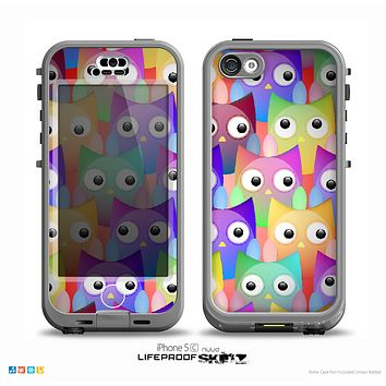 The Multicolored Shy Owls Pattern Skin for the iPhone 5c nüüd LifeProof Case