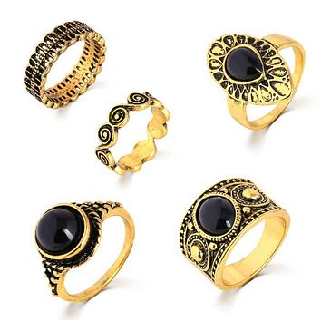 Retro carved black gem ring five sets of Xiangyun ring ring knuckle sets of jewelry