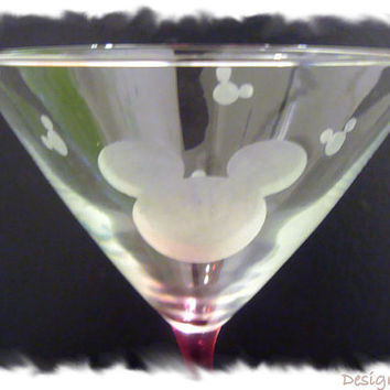 Mickey Mouse Etched Martini Glasses Set of 2 Red Wavy Stem Handmade