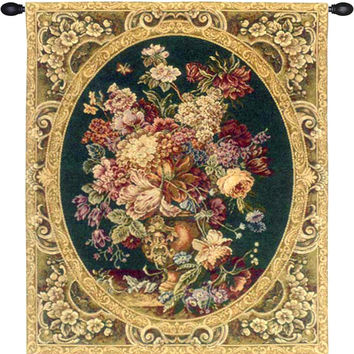 Floral Composition in Vase Green Tapestry Wall Art Hanging