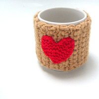 Coffee Cozy Mug Cozy Tea Cup Cozy crochet love heart for by Namaz