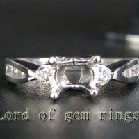 Diamond Engagement Semi Mount Ring 14K White Gold Round 6.5mm Channel