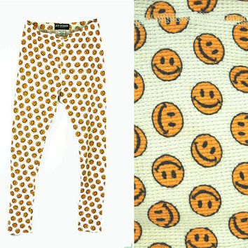 Smiley face pants, Joe Boxer pajama bottoms, Joe Boxer Girlfriend,  thermal underwear, long underwear, Size M, yellow white