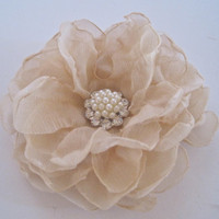 Stunning Two Tone Cream Chiffon Flower Hair Clip Wedding Bride Bridesmaid Mother of the Bride Prom with a Pearl and Rhinestone Accent