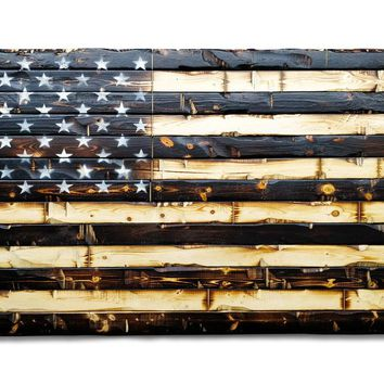 Wood Flag Huge Wood Burned American Flag Painted Stars Huge Wall Decoration