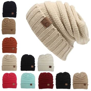 Winter Beanie Womens Beanie Women Winter Knitted Wool Cap CC Beanies Unisex Casual Hats Men Hip-Hop Skullies Beanie Warm Hat