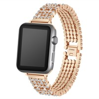 Creative Smart Watch Jeweled Watchbands Solid Chain Type Watch Accessories Jeweled 5 Balls Watchband for Apple Watch 3