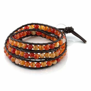 "24"" Red Aventurine on Brown Leather Wrap Bracelet with Snap Button Lock"