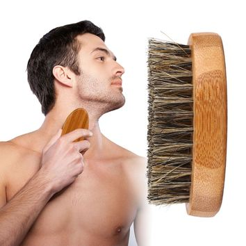 8cm Men Boar Bristle Beard Brush Shaving Comb Face Massage Handmade Yellow