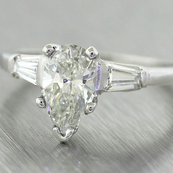 Solid Platinum 1.16ctw Pear Shape Tapered Baguette Diamond Engagement Ring EGL