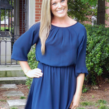First Down Navy Blue Dress