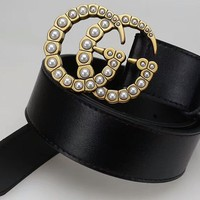 """Gucci"" Women Simple Fashion All-match Metal Pearl Double G Letter Needle Buckle Cowhide Genuine Leather Belt Waistband"
