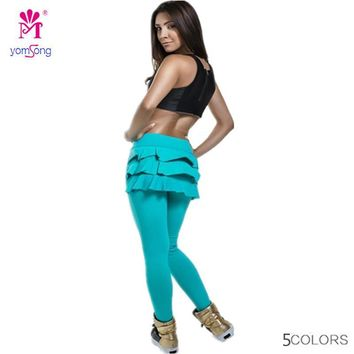Yomsong High Waist models candy colored tail swing culottes Leggings Slim Sexy Fashion Fitness Pants L168