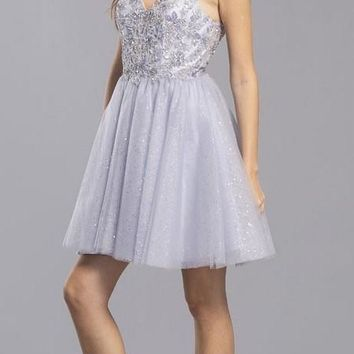 V-Neck and Back Beaded Homecoming Short Dress Pewter