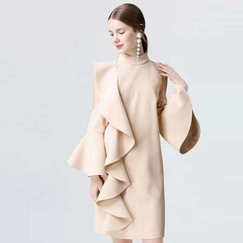 Long-Sleeve Butterfly Sleeve Color Ladies Dress