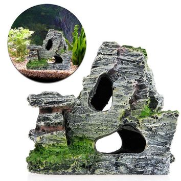 Mountain View Rockery Aquarium Rock Cave Tree Bridge Fish Tank Ornament Decor New