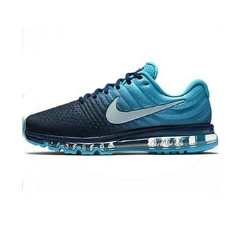 NIKE AirMax Popular Men Casual Sports Air Cushion Running Shoes Sneakers Black Light Blue I
