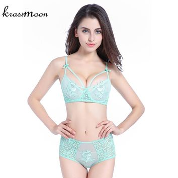 Krastmoon 3/4 cup full lace thin cup sexy push up brassiere transparent bra high waist panties set women embroidery intimates
