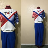 vintage koret nautical print. koret 2pc set. red white and blue shirt. nautical shirt. Koret top and pants set
