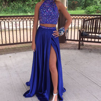 two pieces Prom Dress,long Prom Dress,blue Prom Dress,side slit Prom Dress,2016 prom dress,PD458