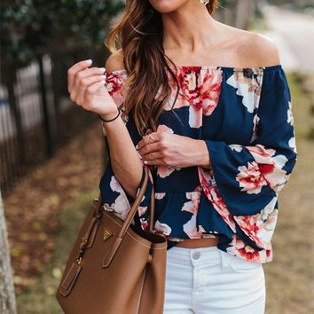 2016 High Quality Summer Women Blouse Slash Neck Flare Sleeves Women's Shirts Fashion Floral Printed Ruffles Women Tops