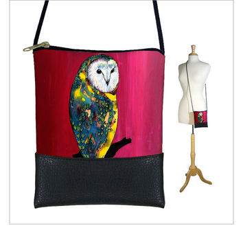 SALE Cross body purse, small shoulder bag with long strap, pouch sling bag, Large Cell Phone Holder, Clara Nilles, cute owl, red pink (RTS)