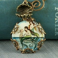 Mermaid Necklace Seahorse Necklace Oyster by ForTheCrossJewelry
