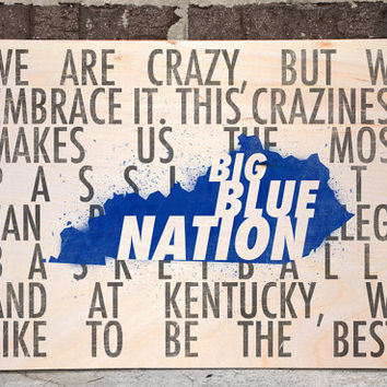 Kentucky Wall Decor, Black and Blue, Typography Decor, Man Cave Art, Basketball Wall Art, Man Cave Wall Decor, Big Blue Nation is Crazy