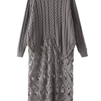 Gray Lace Knitted Sweater