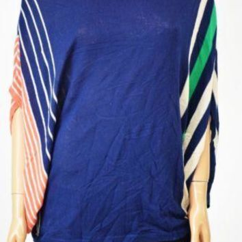 NY Collection Women's Dolman-Sleeves Blue Striped Poncho Sweater Blouse Top L