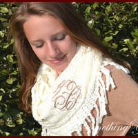 Monogrammed Infinity Scarf - Ivory Knit with Fringe - Personalized Circle Script Women's Monogram Initials Chenille Soft