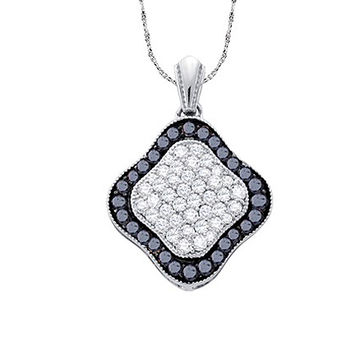 Diamond Fashion Pendant in 10k White Gold 1 ctw